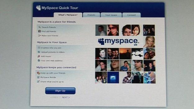 Apariencia de MySpace en 2009.