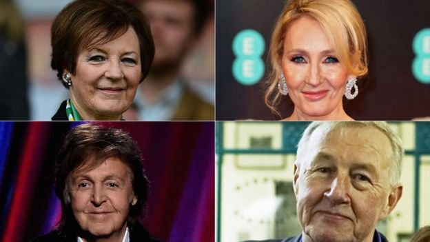 Clockwise from top left: Delia Smith, JK Rowling, Sir Terence Conran, Sir Paul McCartney
