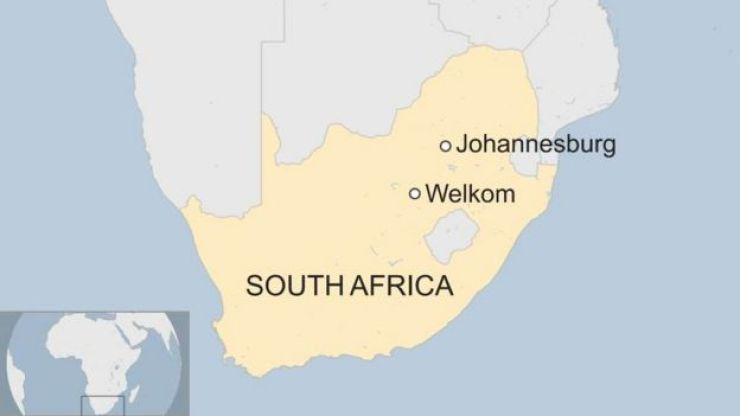 Map of South Africa with Welkom, where mine is, and Johannesburg marked