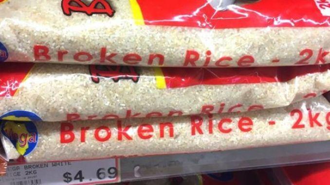 Bags of broken rice