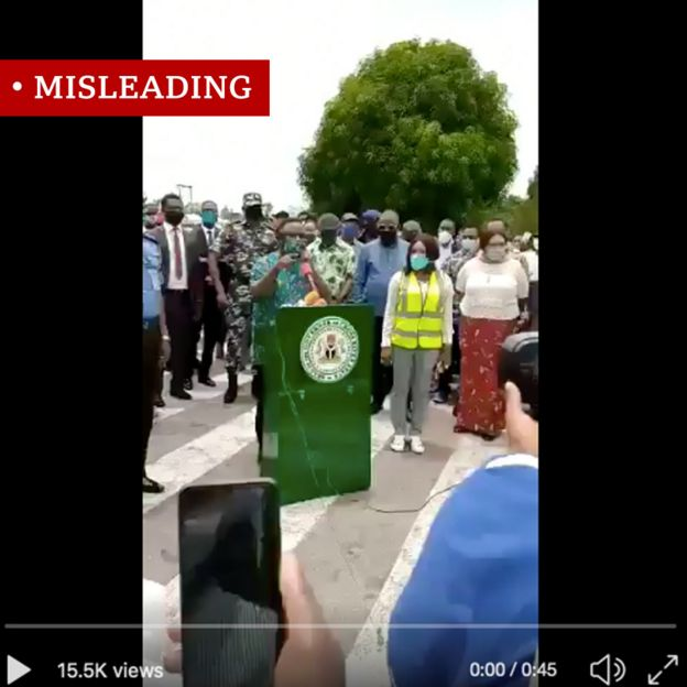 Screen grab of Nigeria state governor in video