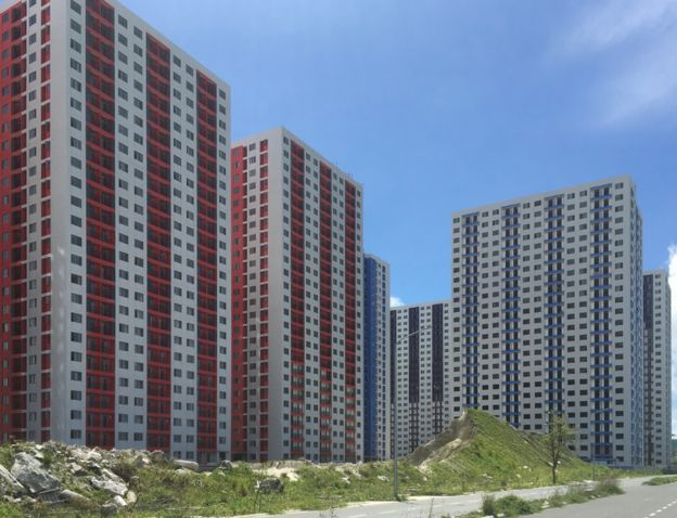 Housing built with Chinese investment in Hulumale, Maldives
