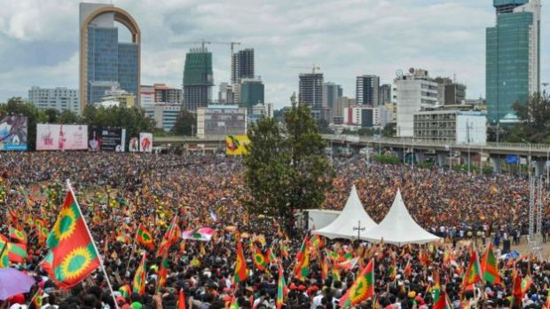 Crowds in central Addis Ababa