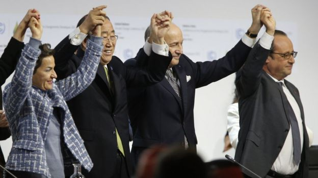 The Paris deal struck last December was seen as a major breakthrough. UN Secretary General Ban Ki-moon, French Foreign Minister Laurent Fabius and French President Francois Hollande celebration the adoption of the Paris agreement