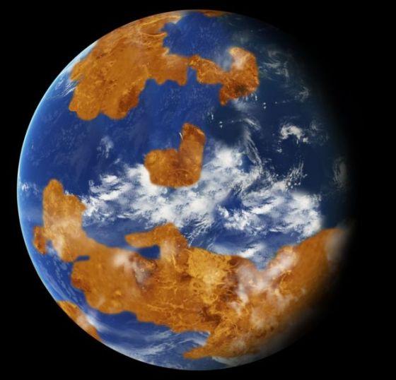 Artwork of Venus with oceans