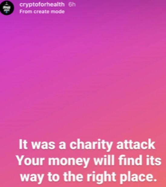 Publication Instagram sur le compte Cryptoforhealth