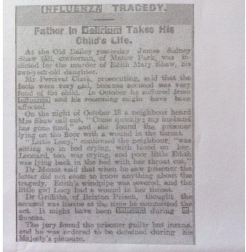 El artículo sobre la tragedia de los Shaw en el Aberdeen Evening Express.