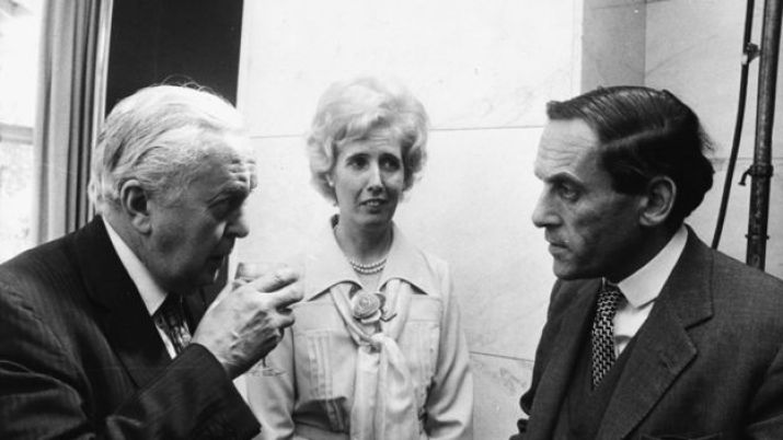 British Prime Minister Harold Wilson (left), with his secretary Lady Falkender and Liberal Party leader Jeremy Thorpe, at a Variety Club Luncheon for Dame Vera Lynn, at the Savoy Hotel, London, July 23rd 1975.