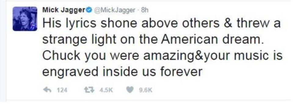 Tweet from Mick Jagger: