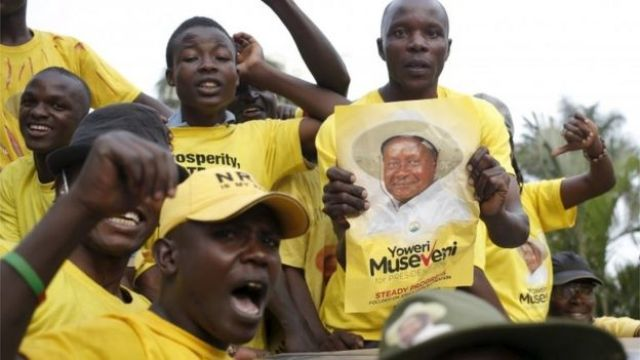 Supporters of Ugandan President Yoweri Museveni celebrate his election victory in Kampala, Uganda 20 February 2016