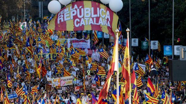 Manifestación independentista en Cataluña.