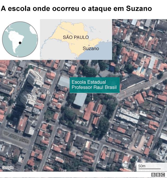 Mapa da escola em suzano