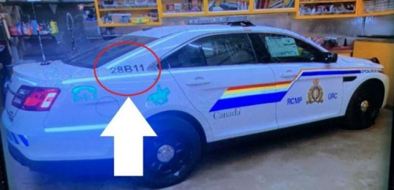 Police car believed to have been used by a gunman