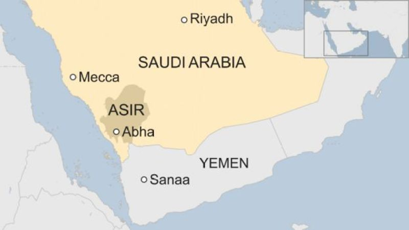 Map of Saudi Arabia showing location of Asir province and Abha city