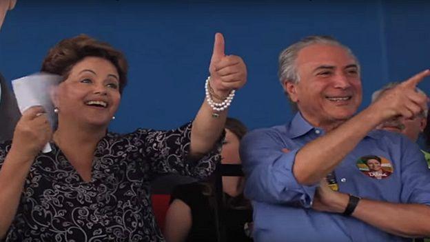 Dilma e Temer em campanha no interior de São Paulo em setembro de 2014