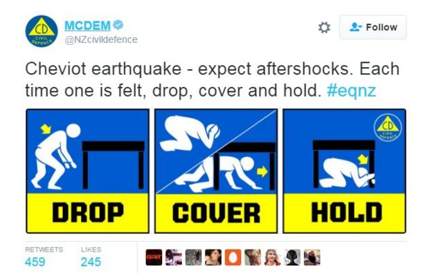 Advice from New Zealand's Civil Defence Ministry on what to do in an earthquake