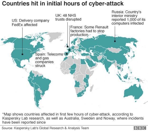 Countries hit in initial hours of cyber-attack