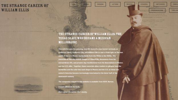 El sitio web que creó Karl Jacoby con la historia de William Ellis