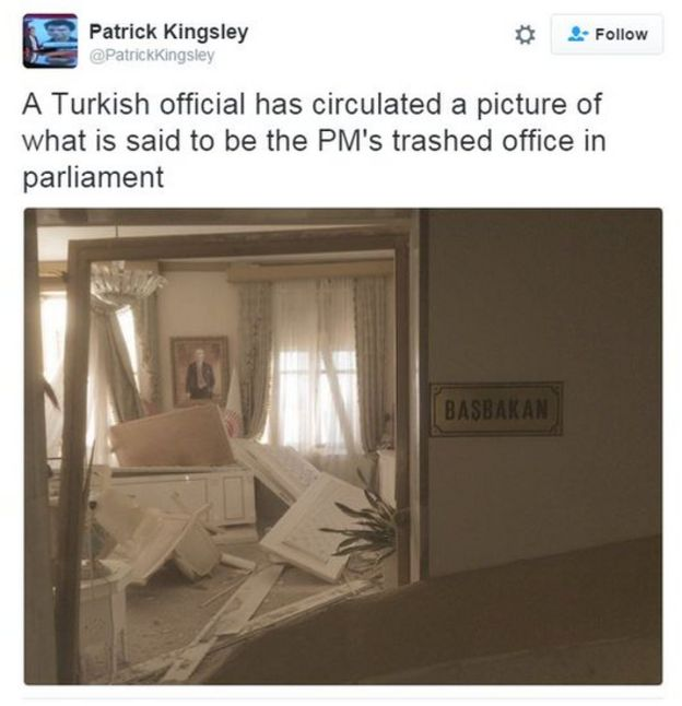 Patrick Kingsley tweets: A Turkish official has circulated a picture of what is said to be the PM's trashed office in parliament