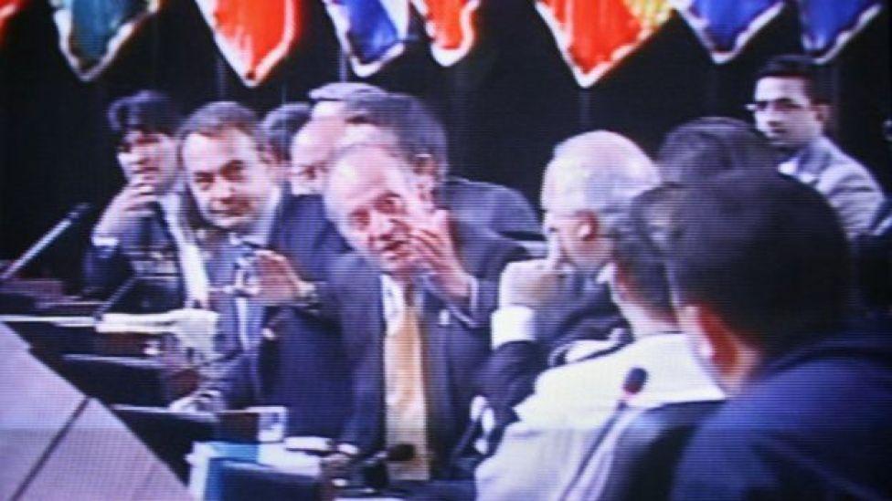José Luis Rodríguez Zapatero, el rey Juan Carlos y Hugo Chávez