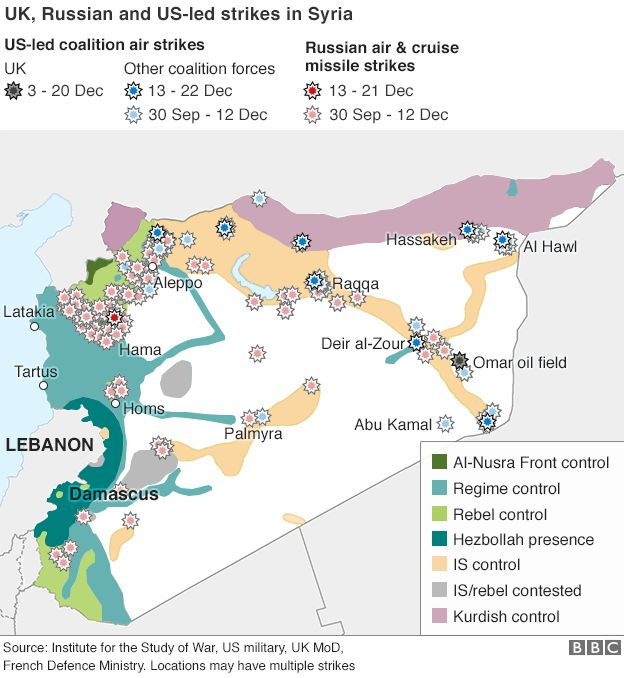 Map showing US, UK and Russian air strikes on Syria