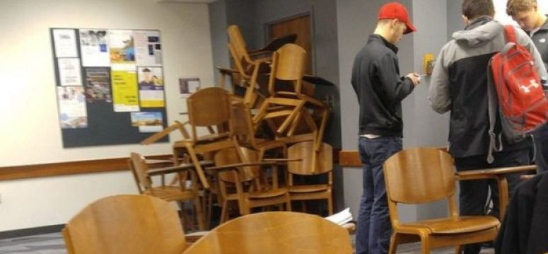 Students barricade a classroom door amid campus lockdown at Ohio State University