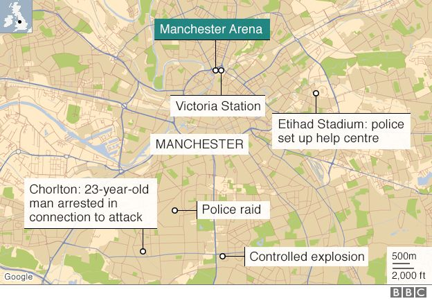 Manchester Arena wider area map