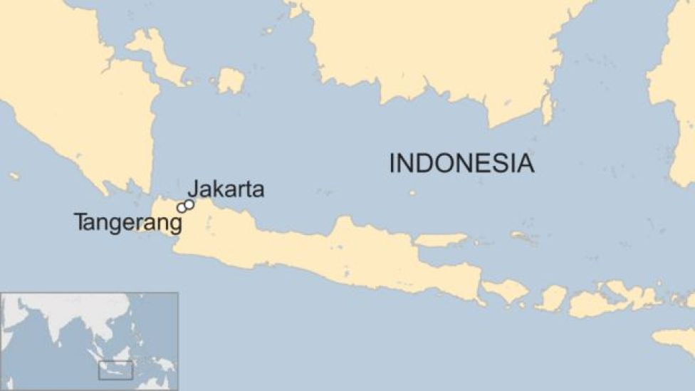 A BBC map showing the location of Tangerang in Indonesia