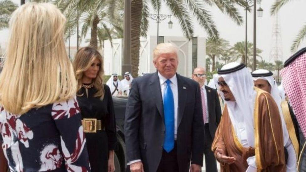 From left to right: Ivanka Trump, Melania Trump, Donald Trump and King Salman bin Abdulaziz Al Saud