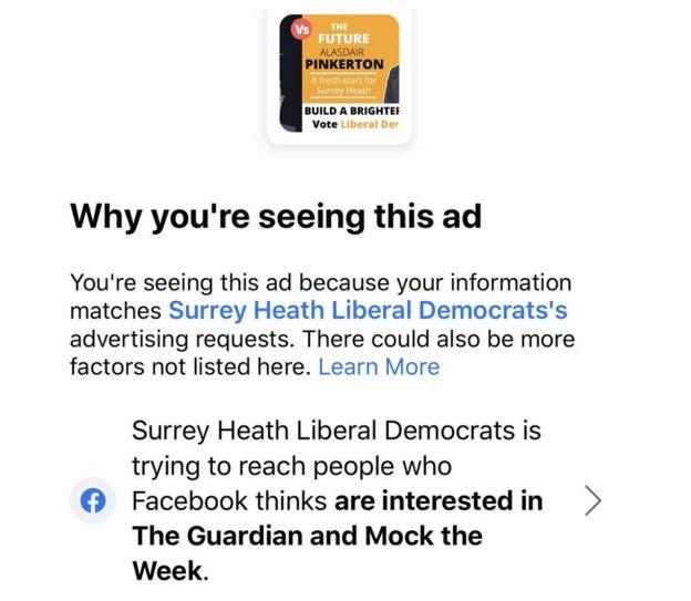Facebook ad by Lib Dems