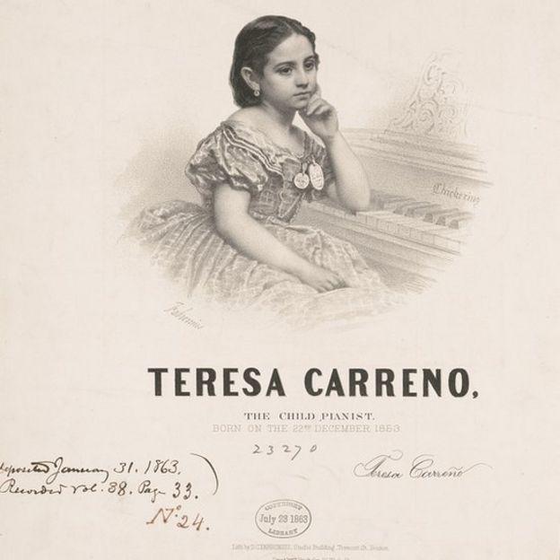 """Volante que promocionaba a Teresa Carreño como """"niña pianista"""" en Estados Unidos."""