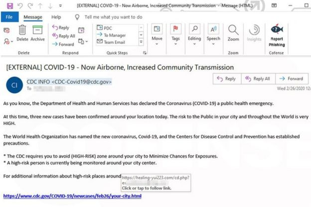 Screenshot of fear-inducing email scam
