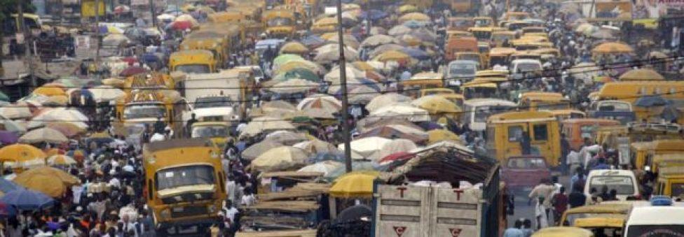 Heavy traffic fills the street in Lagos