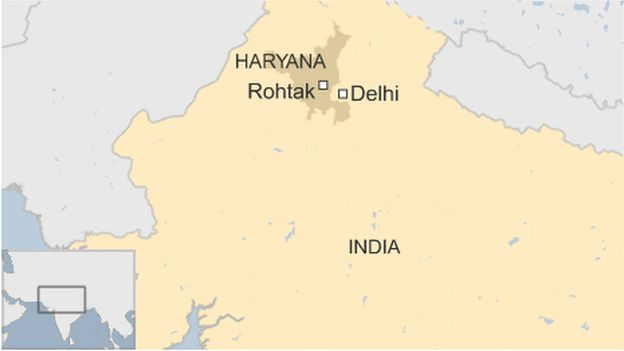 A map showing Haryana state in northern India
