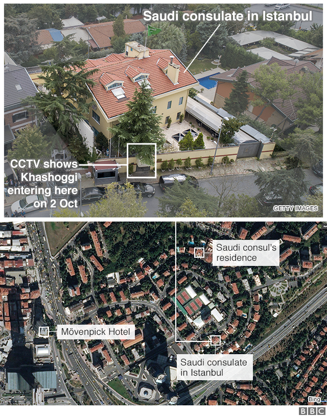 Maps showing the location of the Saudi consulate in Istanbul and the Saudi consul's residence