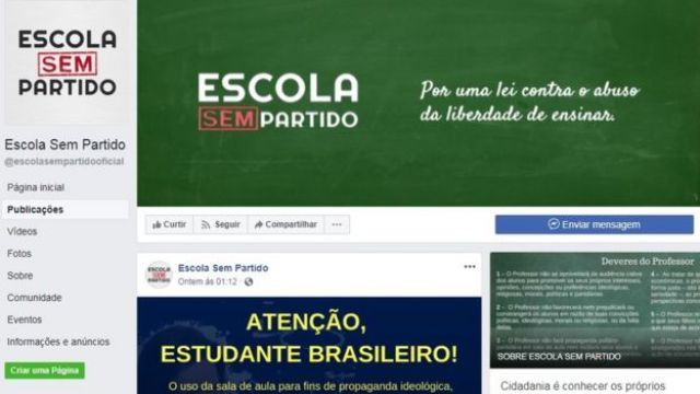 Página do Escola Sem Partido no Facebook