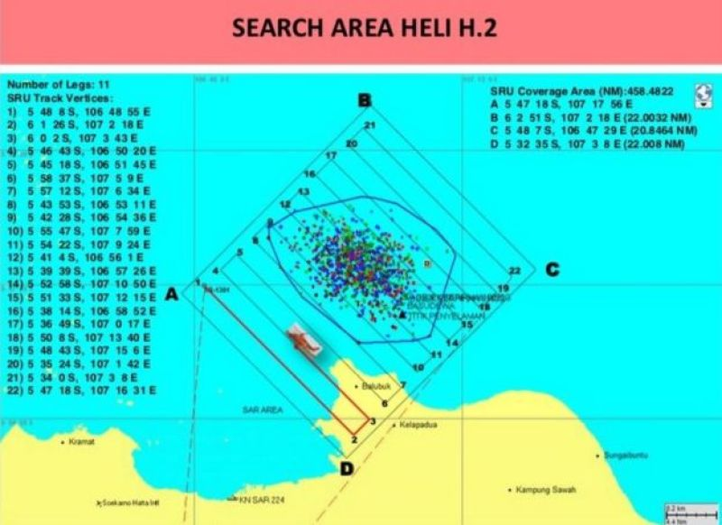 Technical map showing area being search
