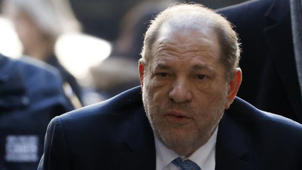 Former Hollywood producer Harvey Weinstein arrives at court on Monday
