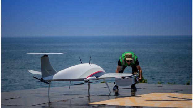 Drone at the Lake Kivu Challenge