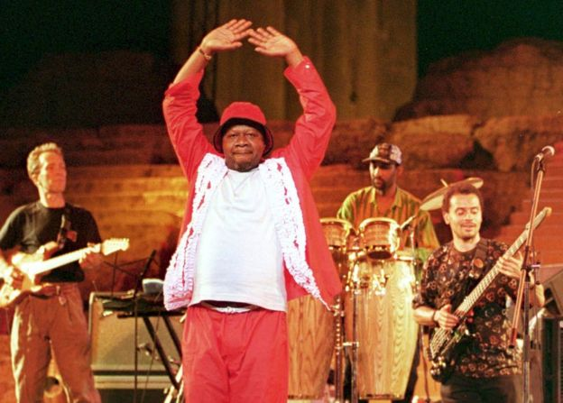 Papa Wemba on stage at the Baalbek International Festival, Lebaon, in 2000