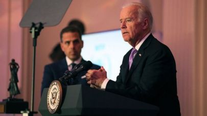 Hunter Biden looks on at his father at a World Food Program event in 2016