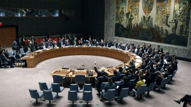 The United Nations Security Council unanimously approves sanctions against North Korea at the UN headquarters in New York (02 March 2016)