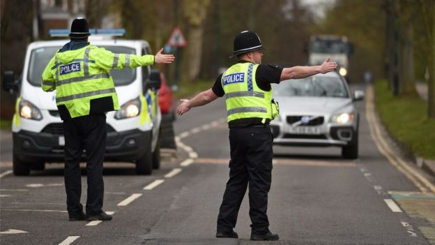 North Yorkshire Police officers stopping motorists to check travel is essential