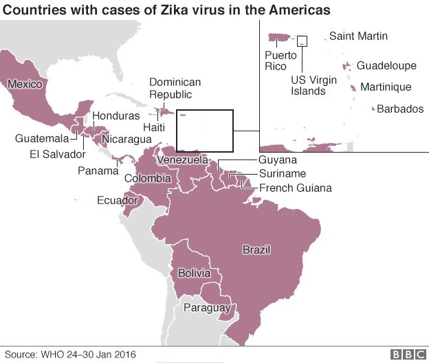 Map of Zika cases