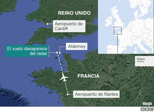 Mapa del lugar de la desaparición.