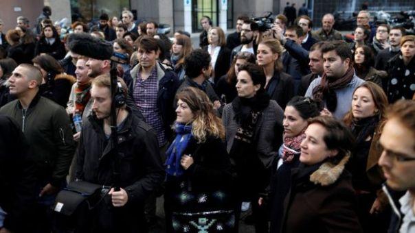 Protesta de trabajadores de Canal+