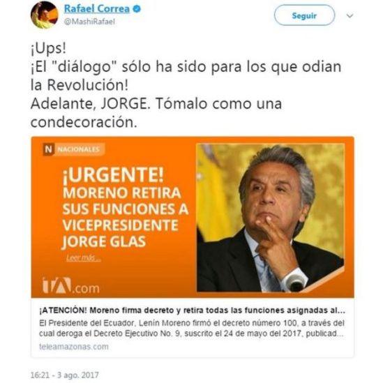 Correa escribió en su cuenta de Twitter: