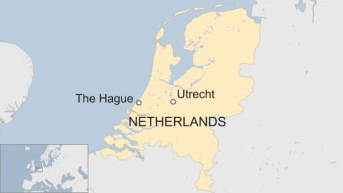 Map showing Utrecht in The Netherlands