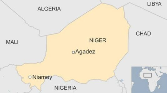 map of Niger showing capital Niamey in south west and Agadez, where the base is, in centre