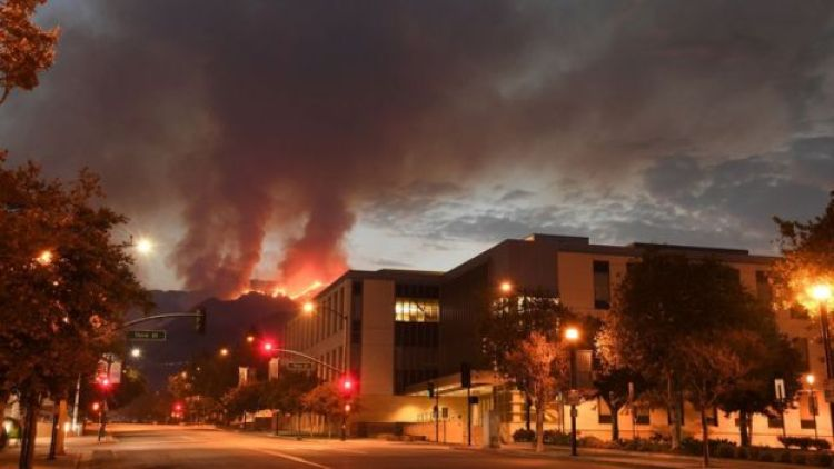 The La Tuna fire burns above Burbank, California, on September 3, 2017
